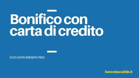Bonifico bancario con carta di credito