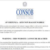 I siti bloccati dalla Consob per offerta abusiva di servizi finanziari